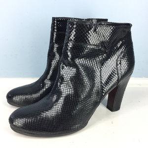 ANN TAYLOR LOFT Black Embossed Ankle Boots 9